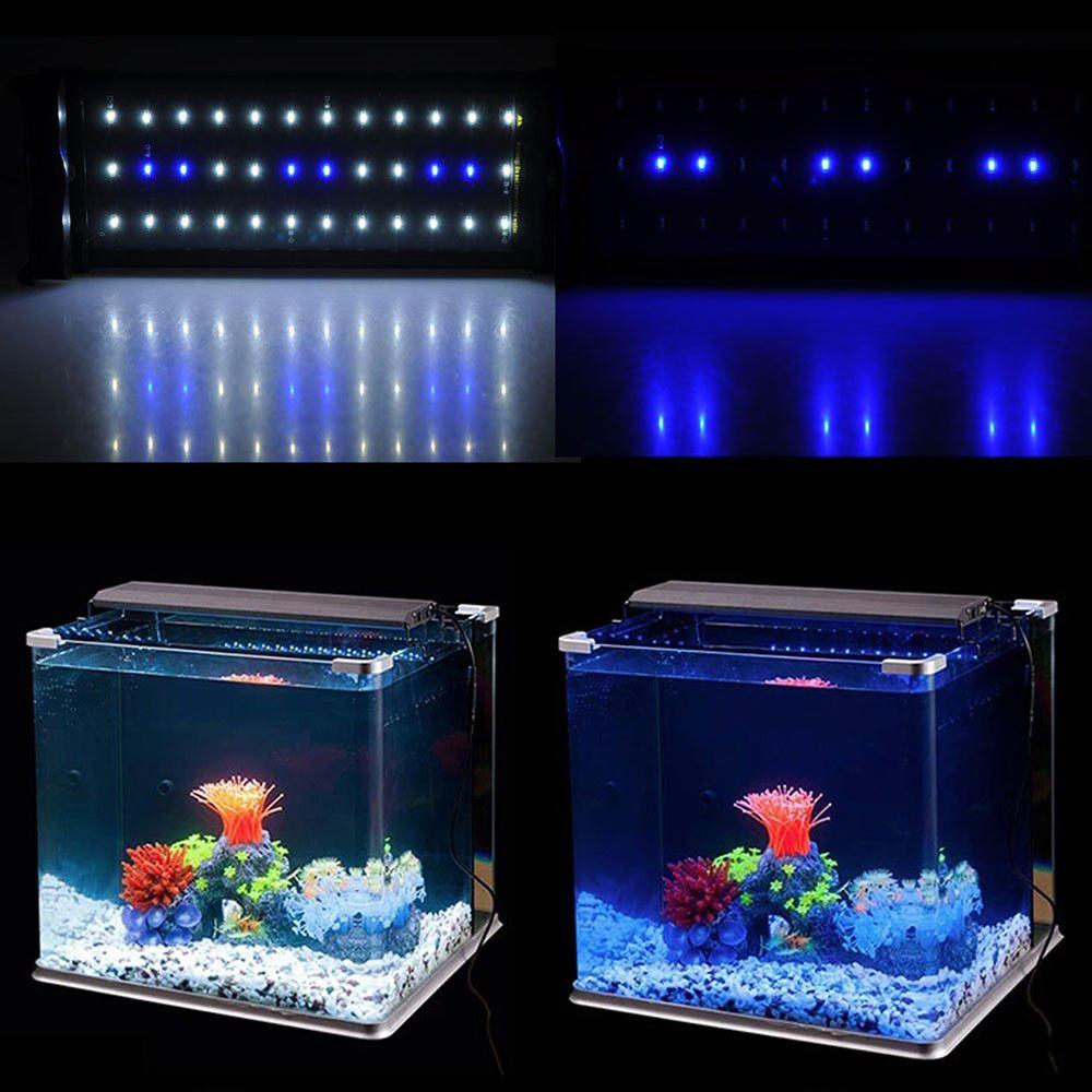 Aquarium Fish Tank Smd Led Light Lamp 6W 2 Mode 30 White + 6 Blue Eu/Uk/Us Plug Marine Aquarium Led Lighting Aquario(China (Mainland))