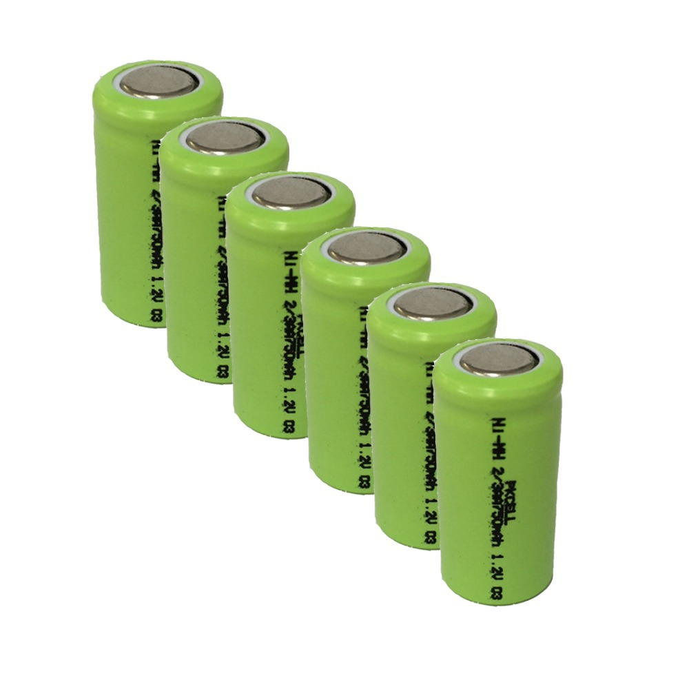 6Pcs 1.2v 2/3aa 750mah rechargeable NIMH battery in flat top, non PCM, in industrial pvc packing(China (Mainland))