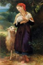 Portrait oil painting The Shepherdess 1873 William Adolphe Bouguereau Painting High quality hand painted free shipping(China (Mainland))