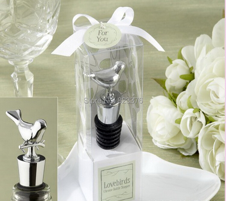 DHL Freeshipping 50pcs Love bird chrome wine bottle stopper Wedding bridal shower party favor guest gift(China (Mainland))