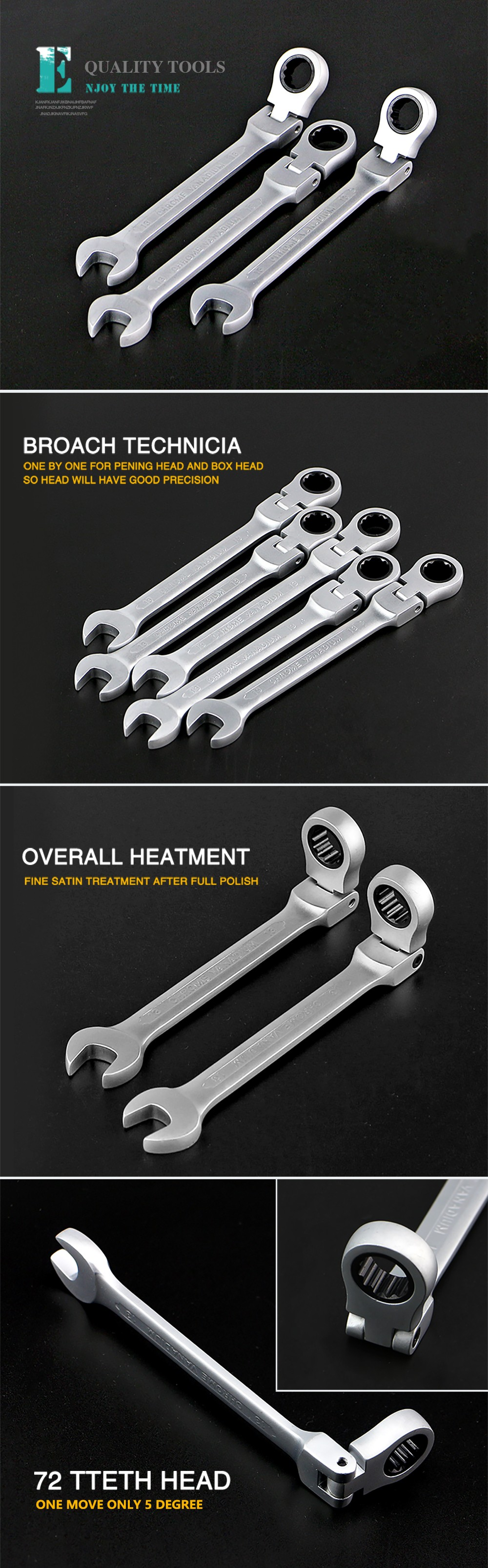 XKAI 8.10.12.13.14.17.19mm  Flexible Head Ratchet Spanner Combination wrench a set of keys ratchet handle tools torque wrench