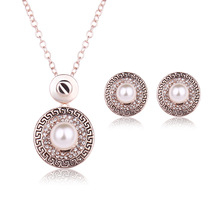 Simulated Pearl Jewelry Sets 18K Gold Plated Chain Round Pendant Necklace and Stud Earrings Crystal Wedding Jewelry Accessories(China (Mainland))