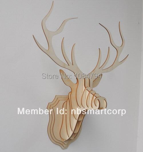 Wooden Veneer Shape Vintage Wood Birdcage Embellishment Craft Products Wooden deer Head DIY(China (Mainland))
