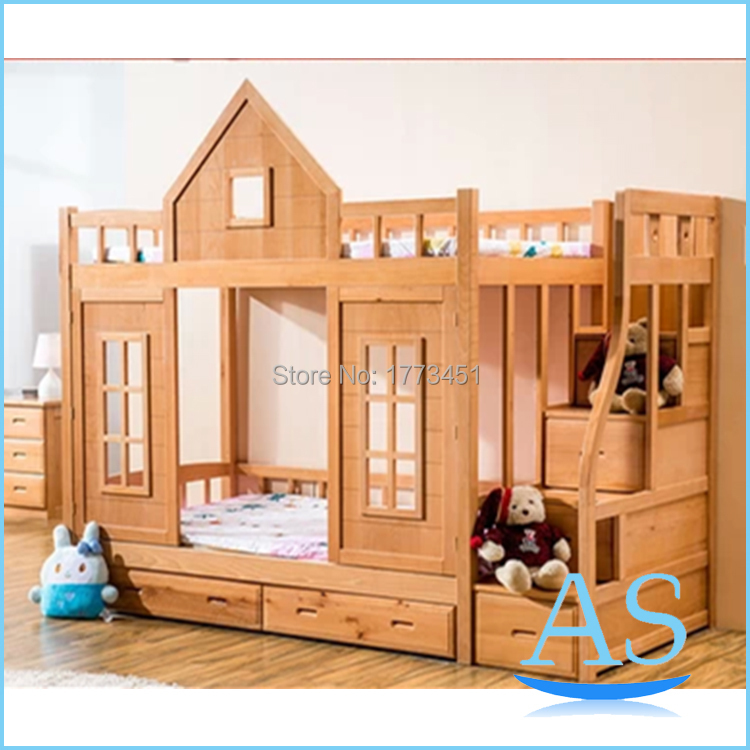 2015 hot sale wooden kids bunk bed beech wood children