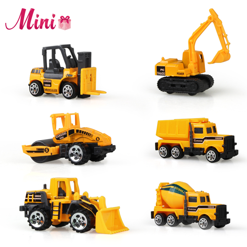 New Style 6PCS Alloy Mental Kids Mini Car Toys Lot Vehicle Sets Educational Toys Engineering Vehicle Model for Children Gift(China (Mainland))
