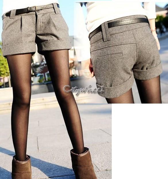 2015 hot sale autumn and winter shorts women woolen bootcut short pants casual shorts black grey. Black Bedroom Furniture Sets. Home Design Ideas