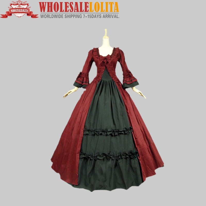 Free Shipping Wholesalelolita Gothic Renaissance Victorian Steampunk Dress Gown Reenactment Costume/Party Wear Stage Ball Gown(China (Mainland))