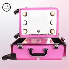 KUNDUI Aluminum frame profelssional makeup beauty Lighting Rolling Luggage travel trolley light make up case bag suitcase box(China (Mainland))