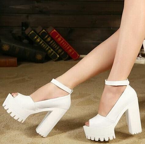 new 12.5cm High Heels Sandals Women Summer Evening Clubwear Ladies Shoes White Black Thick Heels sandalias plataforma WSH672(China (Mainland))