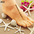 JINSE AK131 Sexy Silver Beach Anklets multilayer hollow flower Ankle Bracelet Foot Jewelry for Women Anklets Bracelet on the Leg
