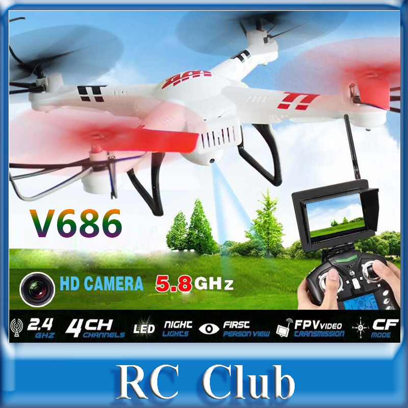 (In stock) WLtoys V686 V686G (FPV Version) 4CH Drone Quadcopter with HD Camera RTF 2.4GHz Real Time Transmission Headless Mode(China (Mainland))