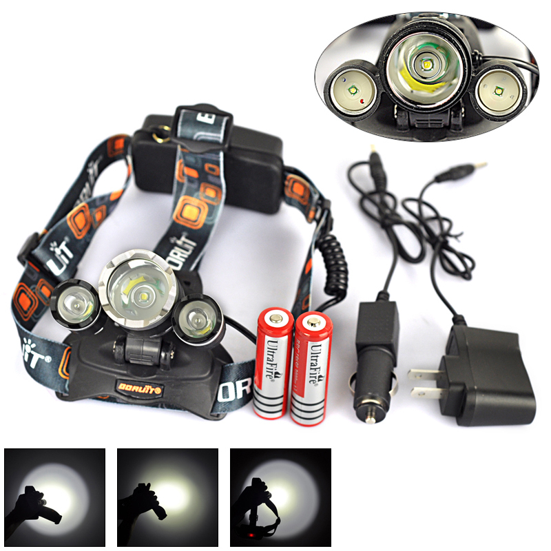 Hot!! 5000 Lumen T6 +2R2 4-mode Headlight Flashlight Linterna Frontal Headlamp Lantern&Charger&2x18650 3000mAh Camping Fishing(China (Mainland))
