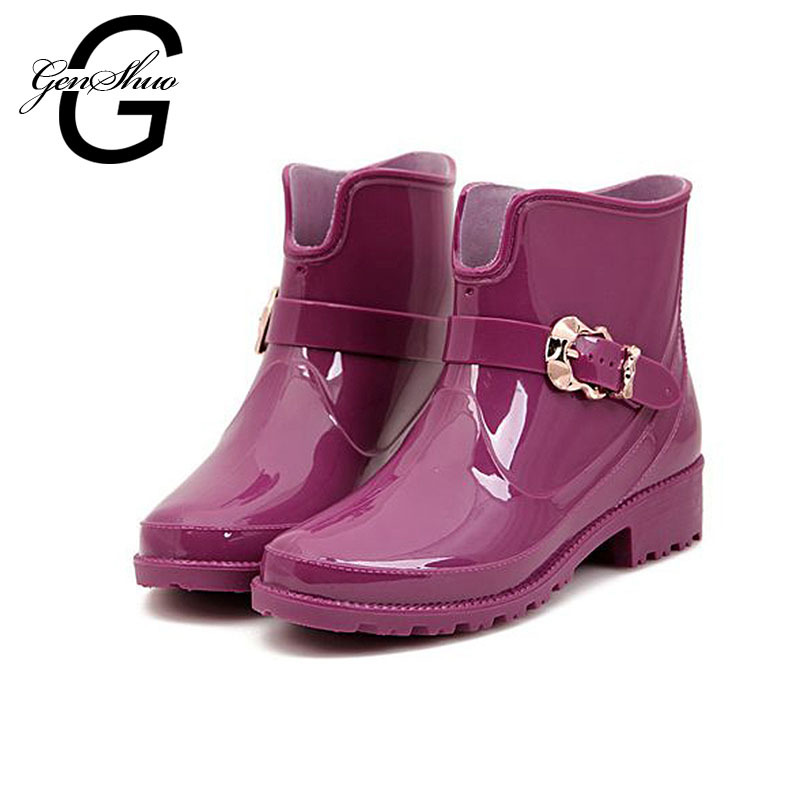 New Fashion Spring Autumn Round Toe Buckle Jelly Rain Boots,Ankle Martin Boots,Rubble Shoes For Women X790(China (Mainland))