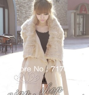 Thermal winterisation faux woolen slim female outerwear beige colored overcoat