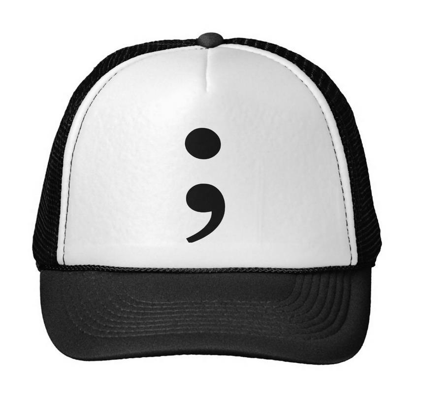Semicolon Print Baseball Cap Trucker Hat For Women Men Unisex Mesh Adjustable Size Black White Drop Ship M-56(China (Mainland))