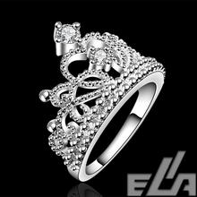 christmas Gift 925 silver plated vintage jewelry aliancas casamento austrian crystal crown rings for women
