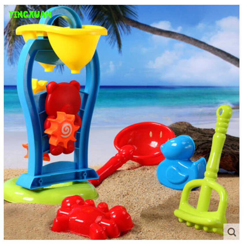 6 pieces Set Kids Cartoon Plastic Windmill Sand Toy Kettle Mold Shovel Water Play Outdoor Fun Children Gift(China (Mainland))