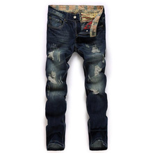 High quality men's jeans hole Casual  ripped jeans men hiphop pants  Straight jeans for men denim trousers(China (Mainland))