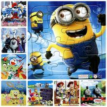 Kids Paper 2D Cartoon Puzzle Toy masha minions Sophia Elsa Anna Dora mickey snow Thomas baymax jigsaw Puzzle(China (Mainland))