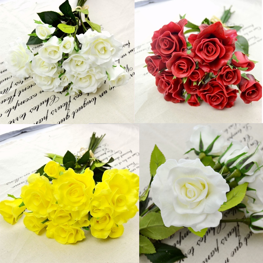 Wedding Bouquet Artificial Flower PU Rose Bouquet 20CM White Yellow Red 3 Colors for Bridesmaid Bouquets and Wedding Decoration(China (Mainland))