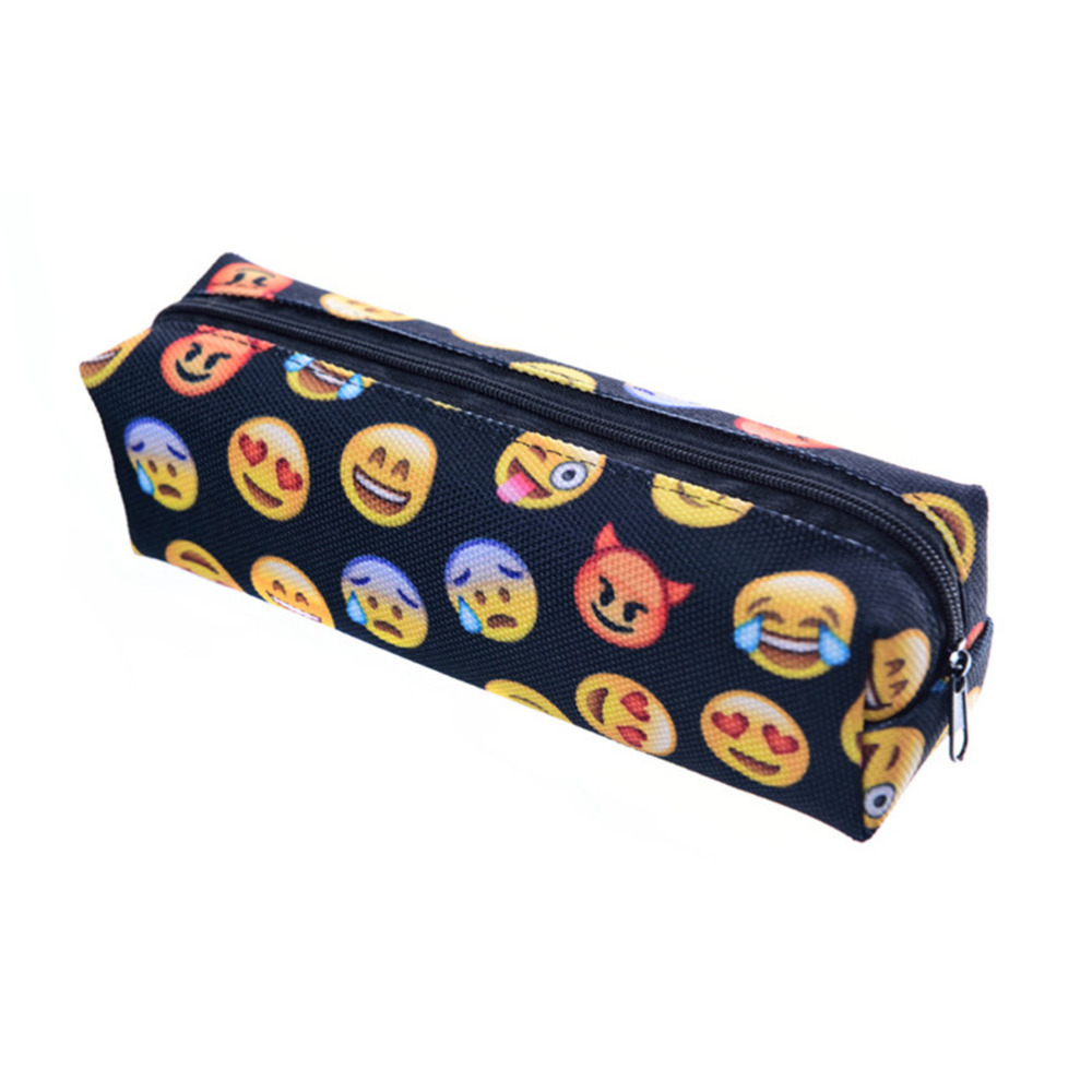 Cute Emoji Smile face Pencils Bags Cute 3D Plush Pencils Case 2016 Case Large Capacity School Supplies Stationery(China (Mainland))