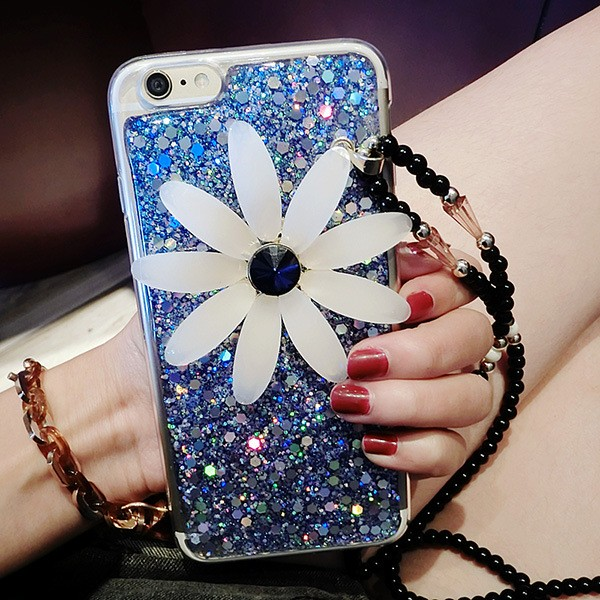 Universal Sunflower Fine Jewelry Accessories Small Diamond Pendant alloy Pendant Strap Rope Phone for iPhone for Xiaomi Huawei