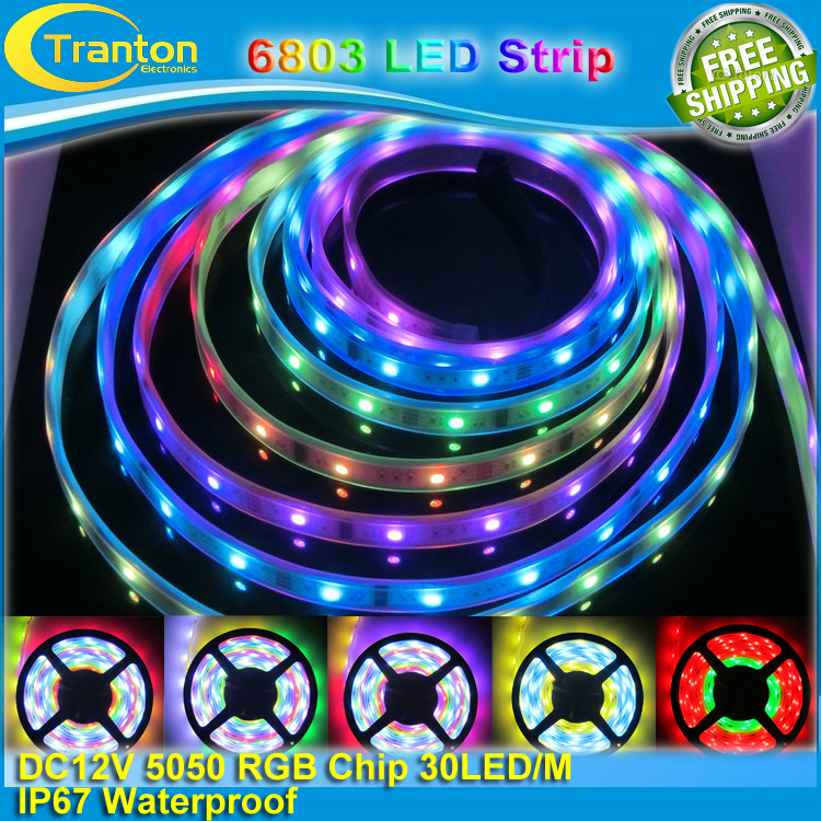 5m 12V IP67 Tube waterproof 6803 IC Magic Dream Color LED Flexible RGB Strips 30LED/m SMD 5050 chasing Lights(China (Mainland))