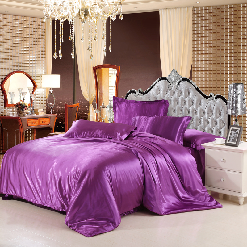 sale classic imitate silk feel satin solid coffee pink purple bedding set king size duvet cover set bedclothes bed sheet set(China (Mainland))