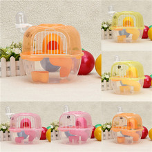 New Transparent Plastic Hamster Gerbil Mouse House 2 Level Hamster Cage Cute Gerbil Mouse Playhouse Nest(China (Mainland))