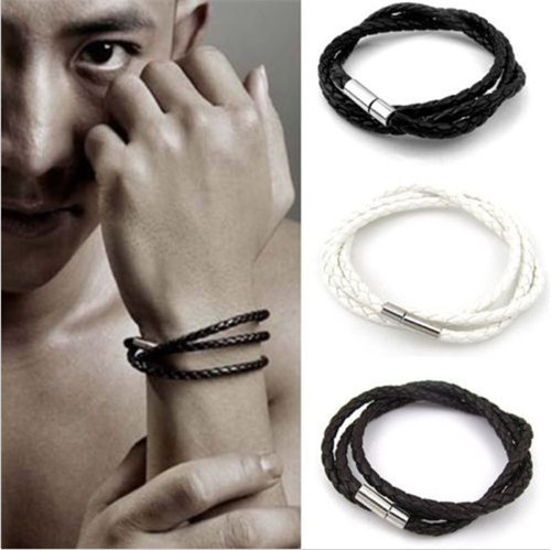 2015 Punk Charm Classice Men Women Personality Male Leather Hand Made Bracelet Black/White/Brown Cuff Bangle Christmas Gifts - fengerone store
