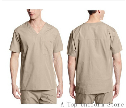 2016 New Men's V neck Summer Nurse Uniform Hospital Medical Scrub Set Clothes Short Sleeve Surgical Scrubs(China (Mainland))