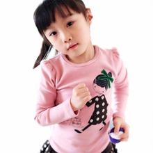 Kid Детская Одежда Девушки Хлопка С Длинным Рукавом Футболка Пуловер Топы 2-7Y(Hong Kong)