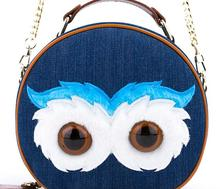 Super Cute Blue Demin Cartoon Owl Casual Messenger Bag Art Style School Girl Single Shoulder Bag(China (Mainland))