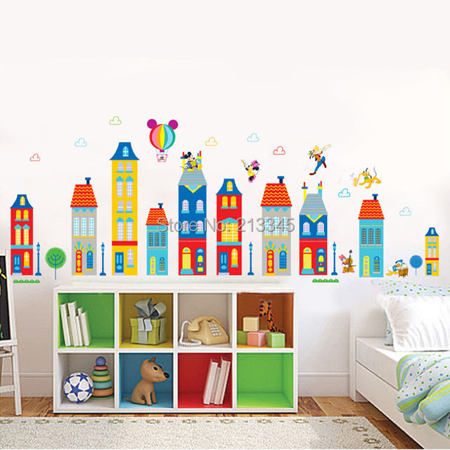 [Saturday Monopoly] diy wall sticker Mickey house building design decals cartoon baby room children bedroom home decor 4129(China (Mainland))