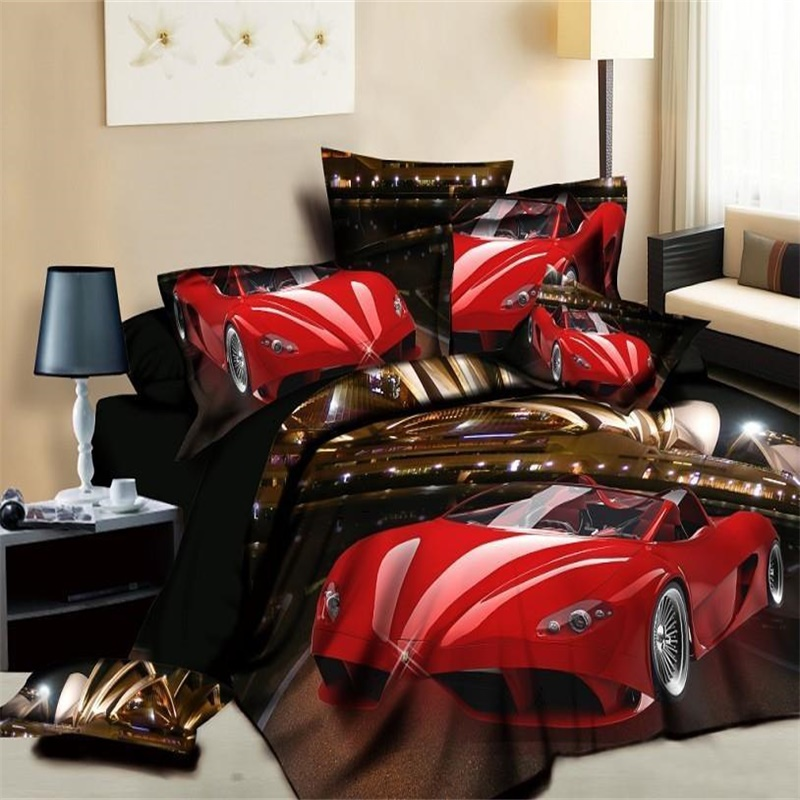 Fashion Red Race Car Bedding Set Duvet Cover Bed Sheets Pillowcase Cotton Bed