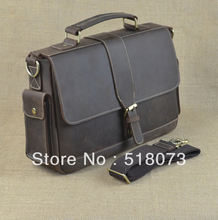 Mens Crazy Horse Genuine Leather Briefcases 13' Laptop Business Messenger Bags 9917(China (Mainland))