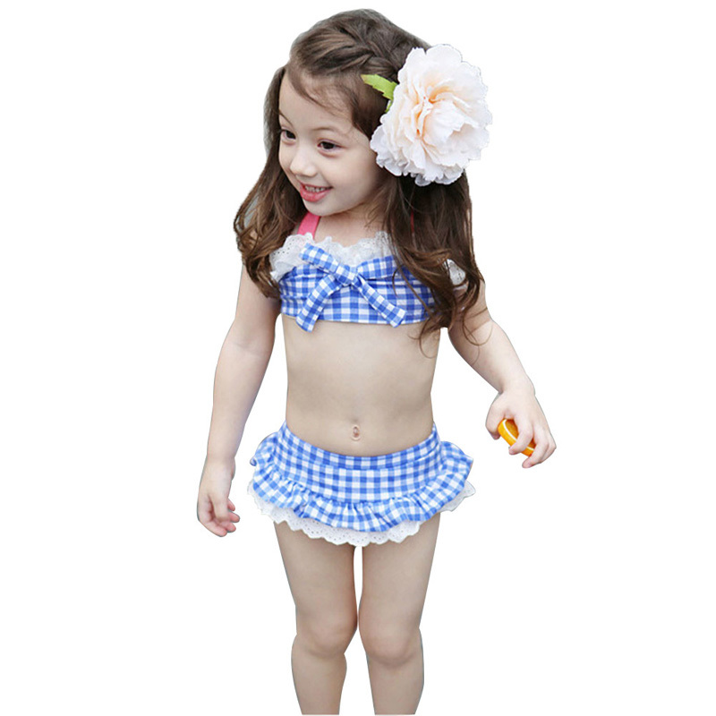 Дети девочки пледы и проверки кружева бикини купальный костюм топ и нижняя купальник