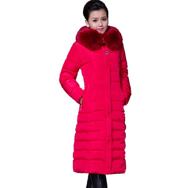 Мода Зима Длинное Пальто Женщин Толстые Куртки Искусственного Меха Ошейник С Длинным Рукавом Хлопок Леди Парки И Пиджаки Плюс Размер XL-5XL COAT-28853
