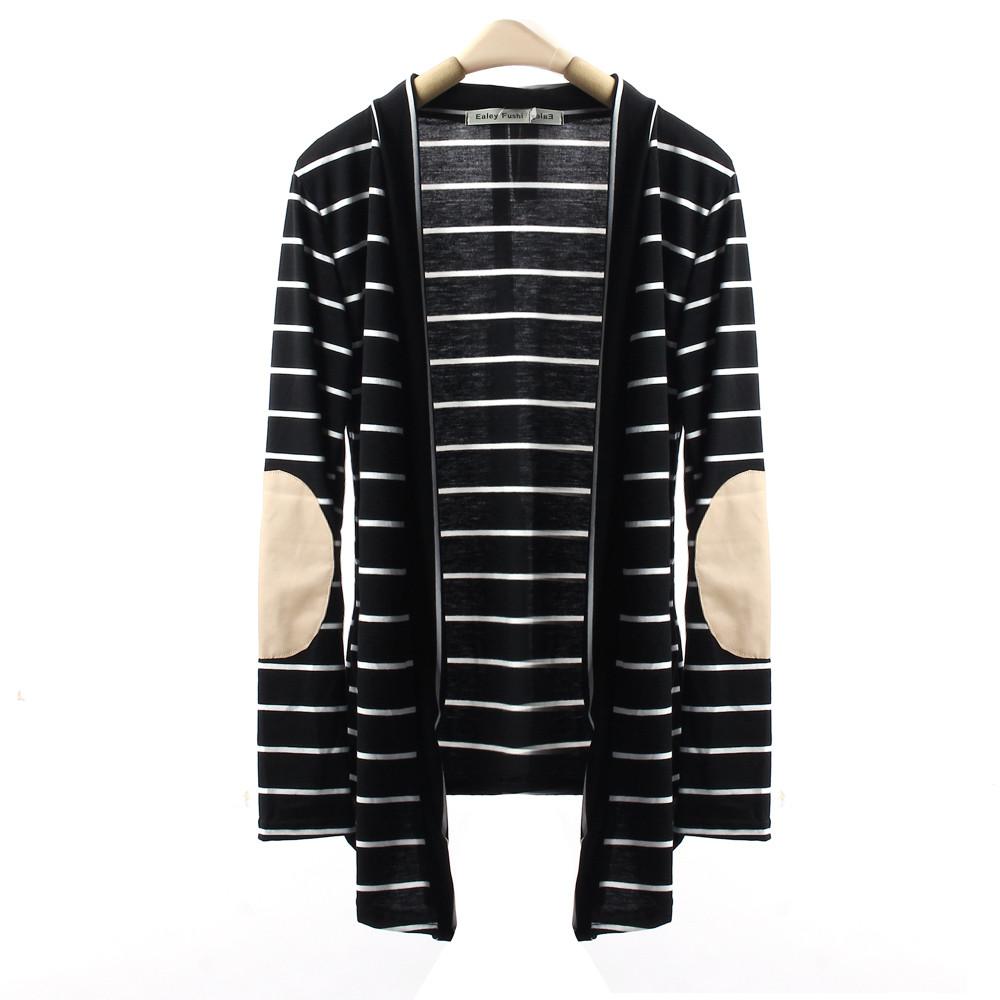 Garment 2017 WInter Warmer clothings Women Casual Long Sleeve Striped Cardigans Patchwork Outwear ST2