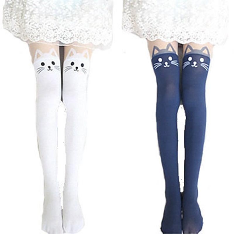 2015 New 4 Colors Nylon Cat Head And Tail Tattoo Stockings Lolita Velvet Women Sexy Knee Socks Tights Cute Printed Pantyhose