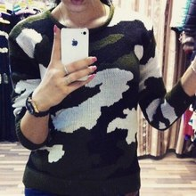 The European and American style collar women knitting sweater camouflage pattern sweater(China (Mainland))