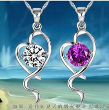 South Korean jewelry love purple drill data pendant 925  jewelry