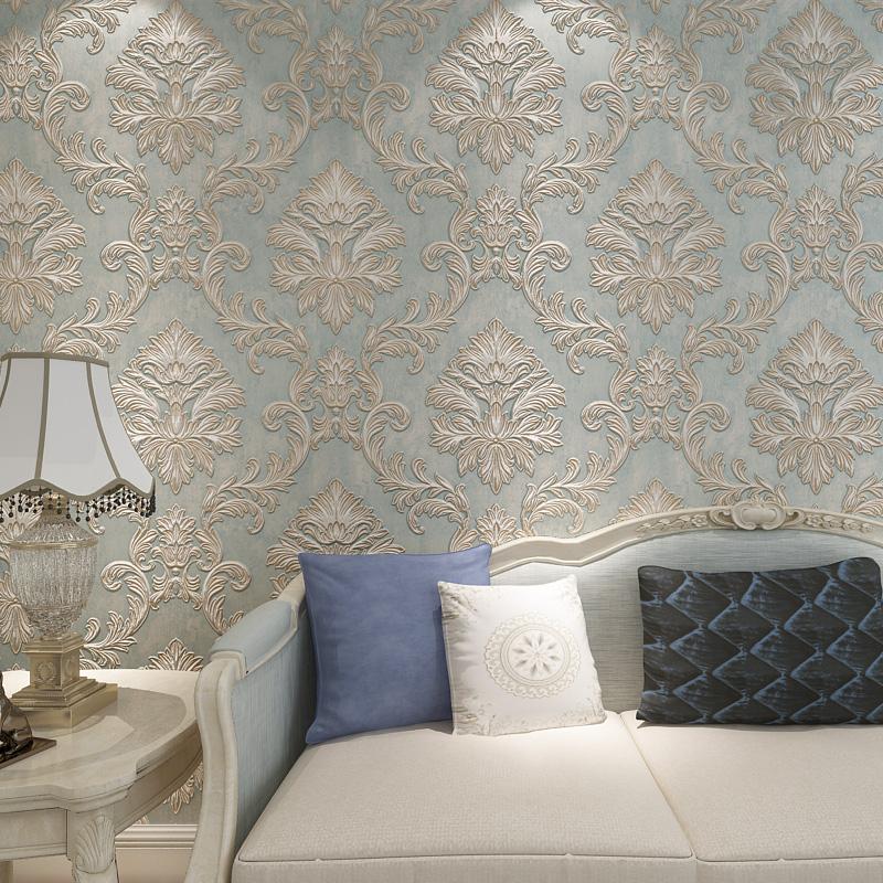 European Style Wallpaper For Walls 3 D Vintage Non Woven Wallpaper Rolls Blue Damask Wall Paper