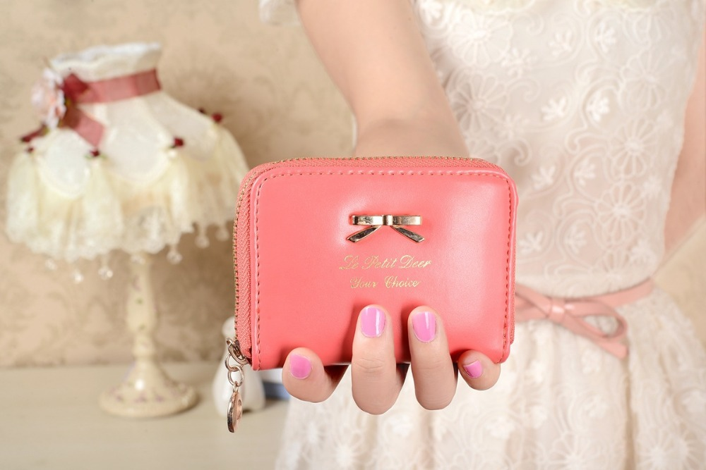 Ladies Coin Purses Girls BowKnot wallet small Zipper Key Cards Purse Wallet cute PU leather coin purse change Coin Bag women(China (Mainland))