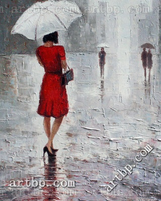 R. Virbickas: Reproduction Modern Impressionistic Painting On Canvas Meeting Art Umbrella Modern Bedroom Decor Famous Realist(China (Mainland))