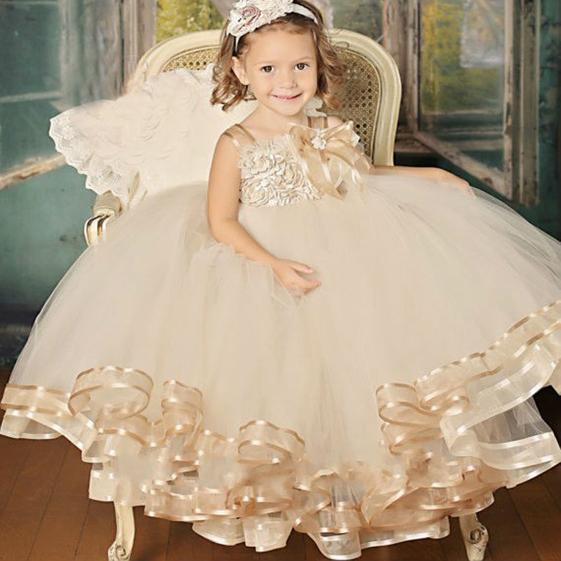 2016 Cute Champagne White Ivory Pageant Flower Girl Dress Floor- Length Party for Baby(China (Mainland))