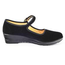 Heels Shoes Women Flock Mary Janes Close Round Toe Strap Ladies Black Heels Low Wedge Heel