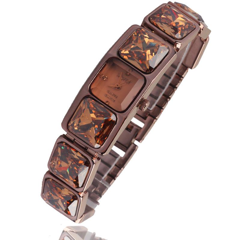 Fashion lady Women s wrist watch Retro vintage Coffee crystal bracelet rhinestone Dress hours Girl Birthday