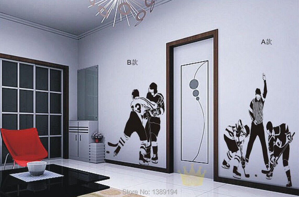High quality ice hockey sports wall stickers living room for Home decor 90 off