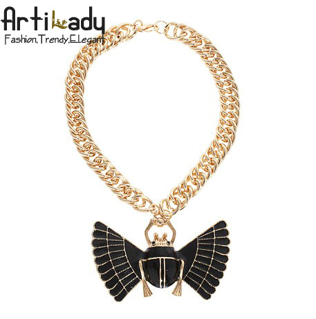 Artilady vintage gold chain with wings necklace brand handmade fashion insect statement necklace accessories